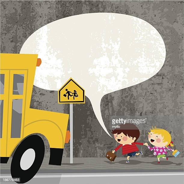 ready to start the school. kids  vector illustration cute - crossing sign stock illustrations, clip art, cartoons, & icons