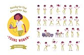 Ready-to-use black, african american woman set, various poses and emotions