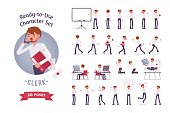 Ready-to-use business male clerk character set, different poses and emotions