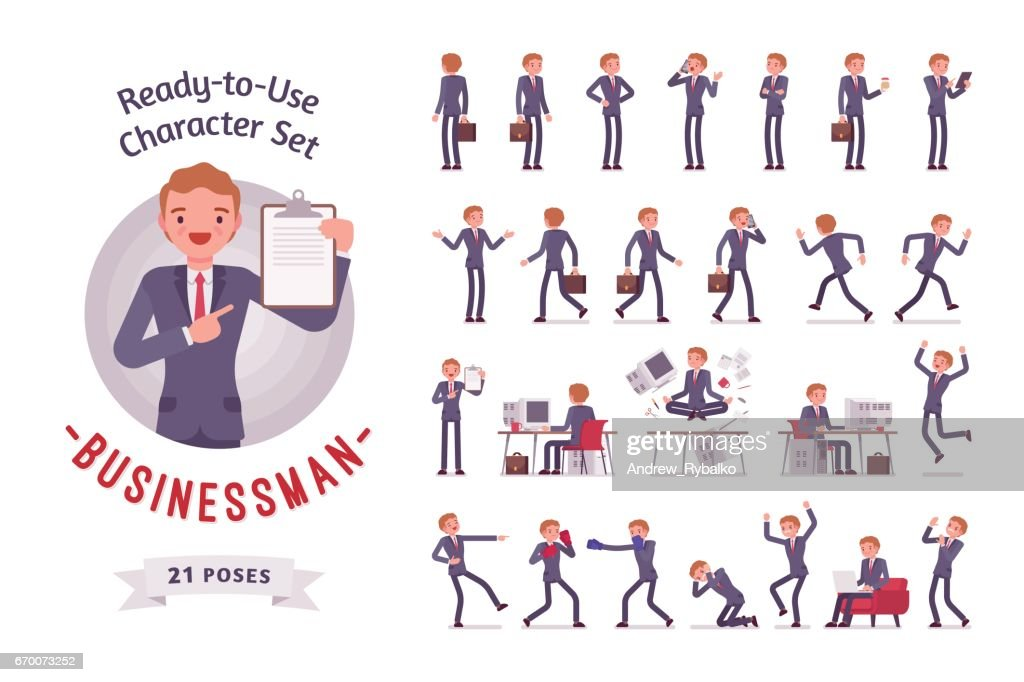 Ready-to-use businessman character set, different poses and emotions