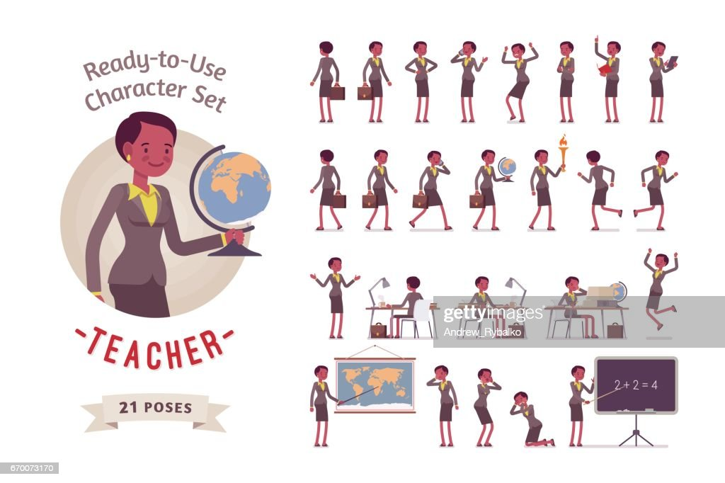 Ready-to-use female teacher character set, different poses and emotions