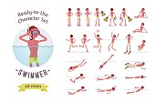 Ready-to-use male swimmer character set, various poses and emotions
