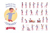 Ready-to-use teenager boy character set, various poses and emotions