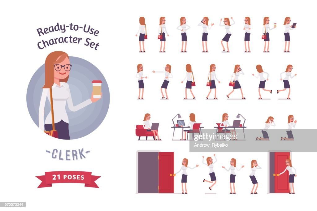 Ready-to-use young female clerk character set, different poses and emotions