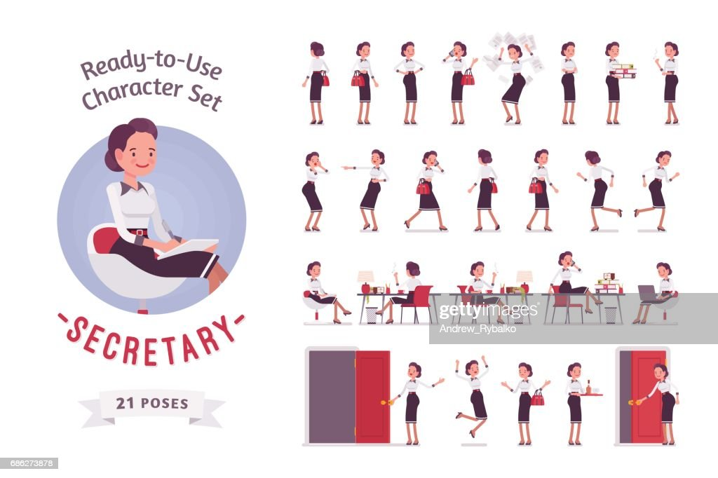 Ready-to-use young female secretary character set, various poses and emotions