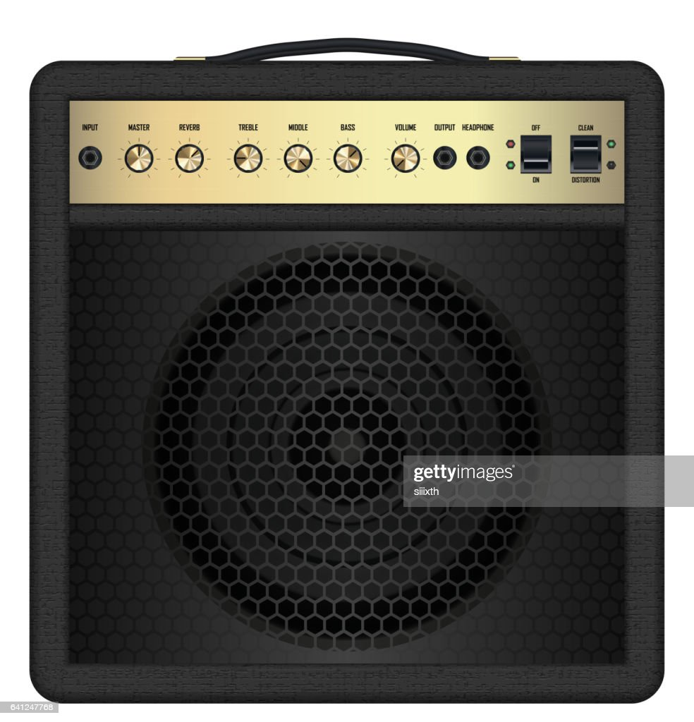 real classic black guitar amplifier vector