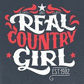 Real country girl t-shirt hand-lettering design