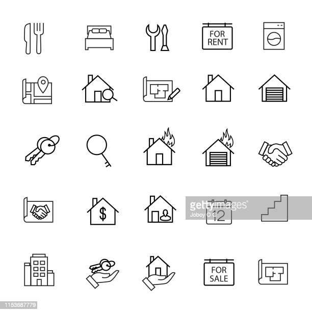 real eestate icons - gewerbeimmobilie stock-grafiken, -clipart, -cartoons und -symbole