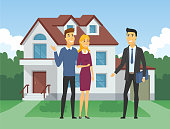 Real estate agency - cartoon people characters illustration
