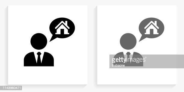 illustrations, cliparts, dessins animés et icônes de l'agent immobilier et l'icône de carré noir et blanc de maison - cravate