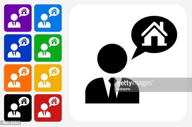 real estate agent and house icon square button set - human representation stock illustrations, clip art, cartoons, & icons