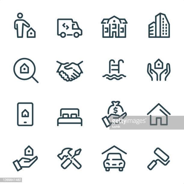 ilustrações, clipart, desenhos animados e ícones de agente imobiliário - ícones da linha pixel perfect unicolor - economia