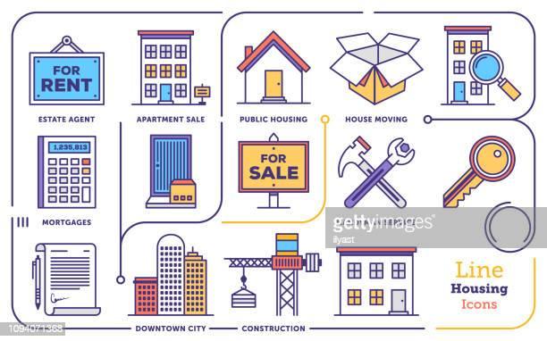 real estate agent vector flat line icon set - housing development stock illustrations