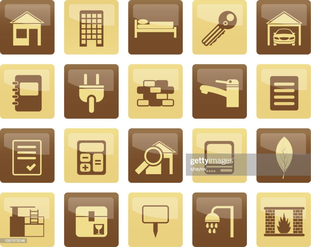 Real Estate and building icons over brown background