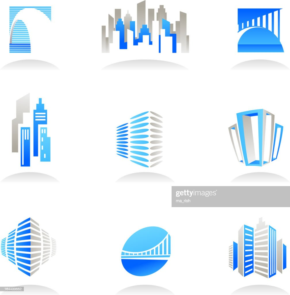 Real estate and construction icons in blue and beige