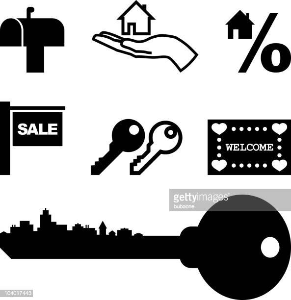 Real Estate and Home Mortgage Black and White Vector Set