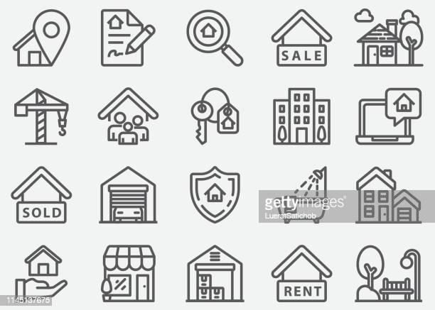 stockillustraties, clipart, cartoons en iconen met onroerend goed en hypotheek lijn iconen - financiën en economie