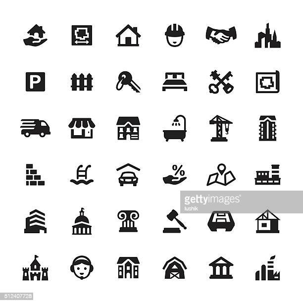 real estate and property vector icons - parking sign stock illustrations