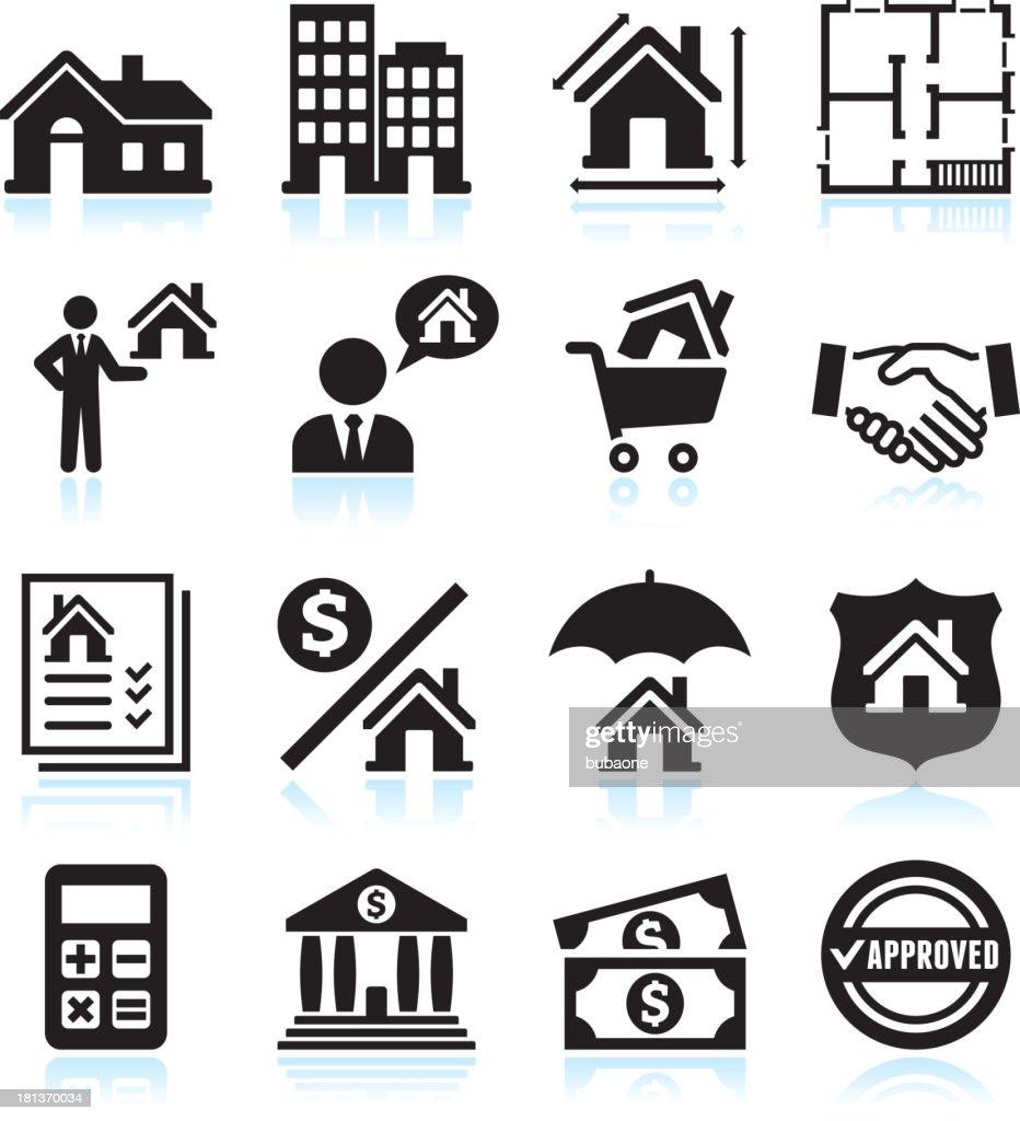 Real Estate Business black & white vector icon set : stock illustration
