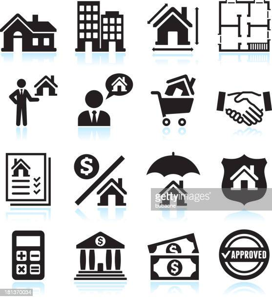 Real Estate Business black & white vector icon set
