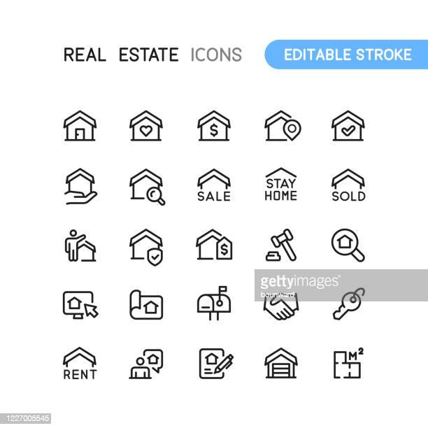 real estate business building outline icons editable stroke - auction stock illustrations