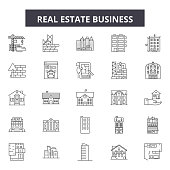 Real estate business line icons, signs set, vector. Real estate business outline concept, illustration: business,house,estate,real,concept,modern