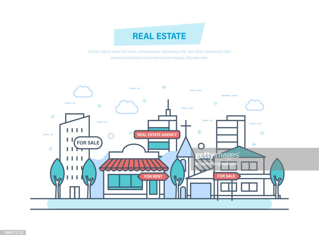 Real estate business with houses. Working, real estate contract deals