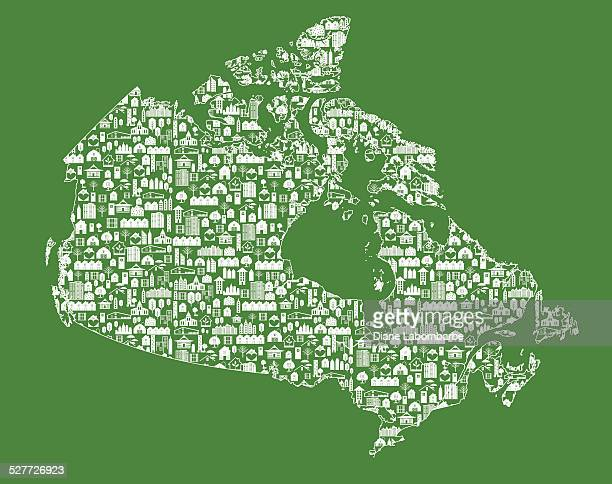 real estate canada map green - country geographic area stock illustrations, clip art, cartoons, & icons