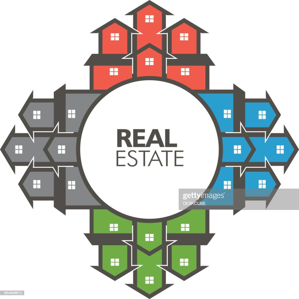 Real Estate Circle of Houses Illustration