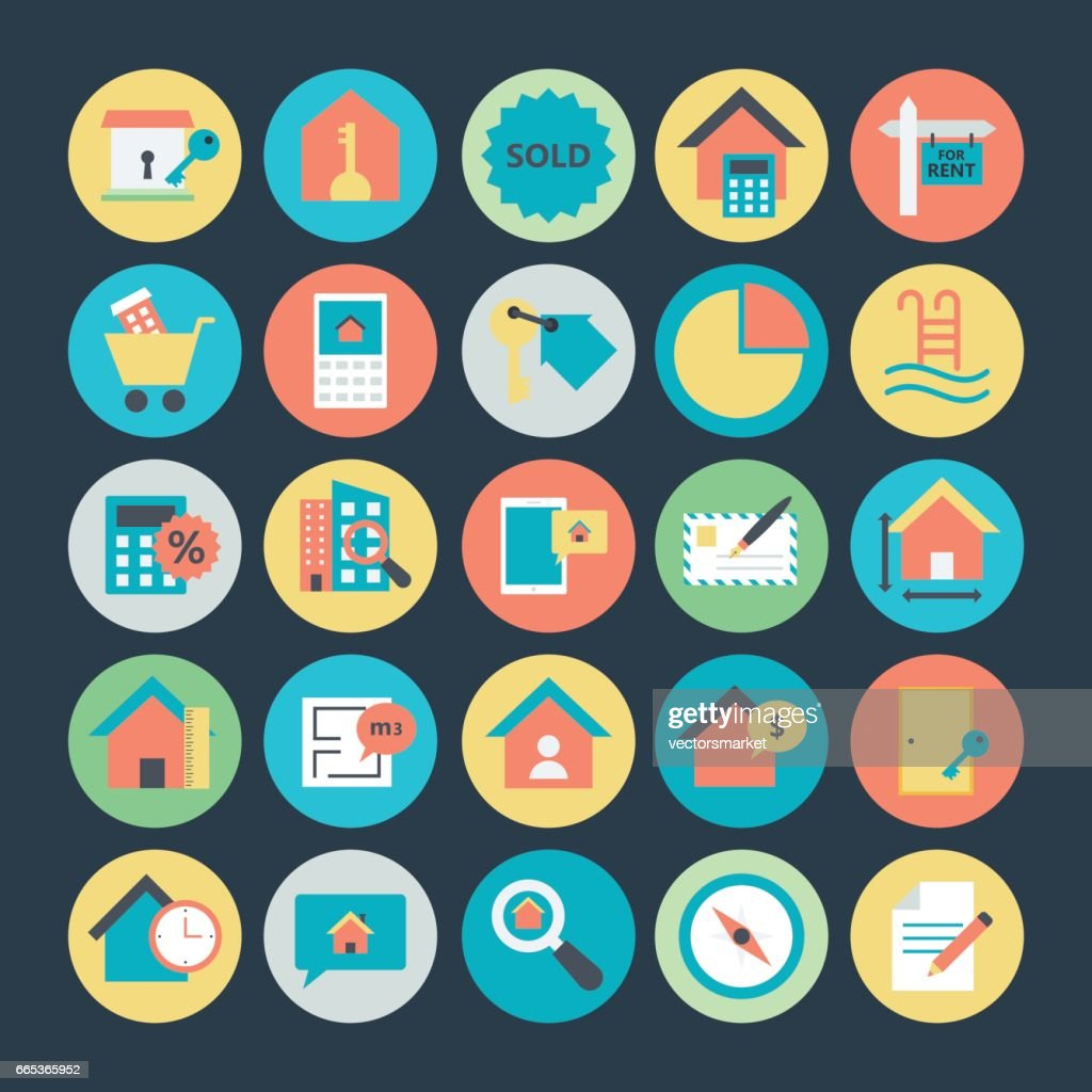 Real Estate Colored Vector Icons 4