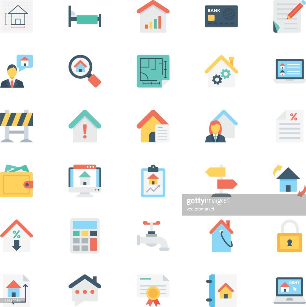 Real Estate Colored Vector Icons 5