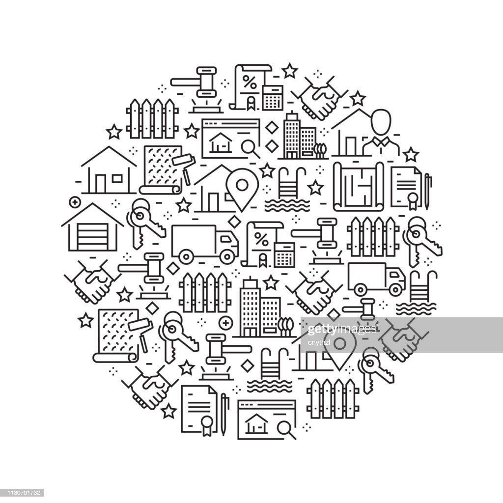 Real Estate Concept - Black and White Line Icons, Arranged in Circle