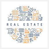 Real Estate Concept - Colorful Line Icons, Arranged in Circle