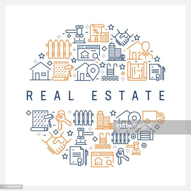 real estate concept - colorful line icons, arranged in circle - loan stock illustrations
