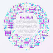Real estate concept in circle with thin line houses and trees. Modern vector illustration for background of banner, web page, print media.