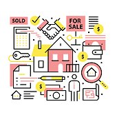 Real estate concept. Realty purchase, sale collage