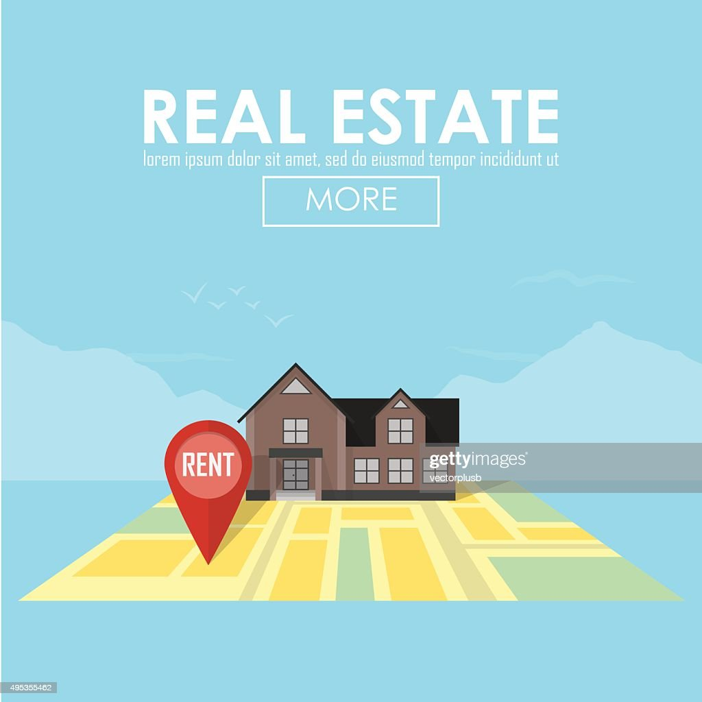 Real estate concept with house for sale and rent