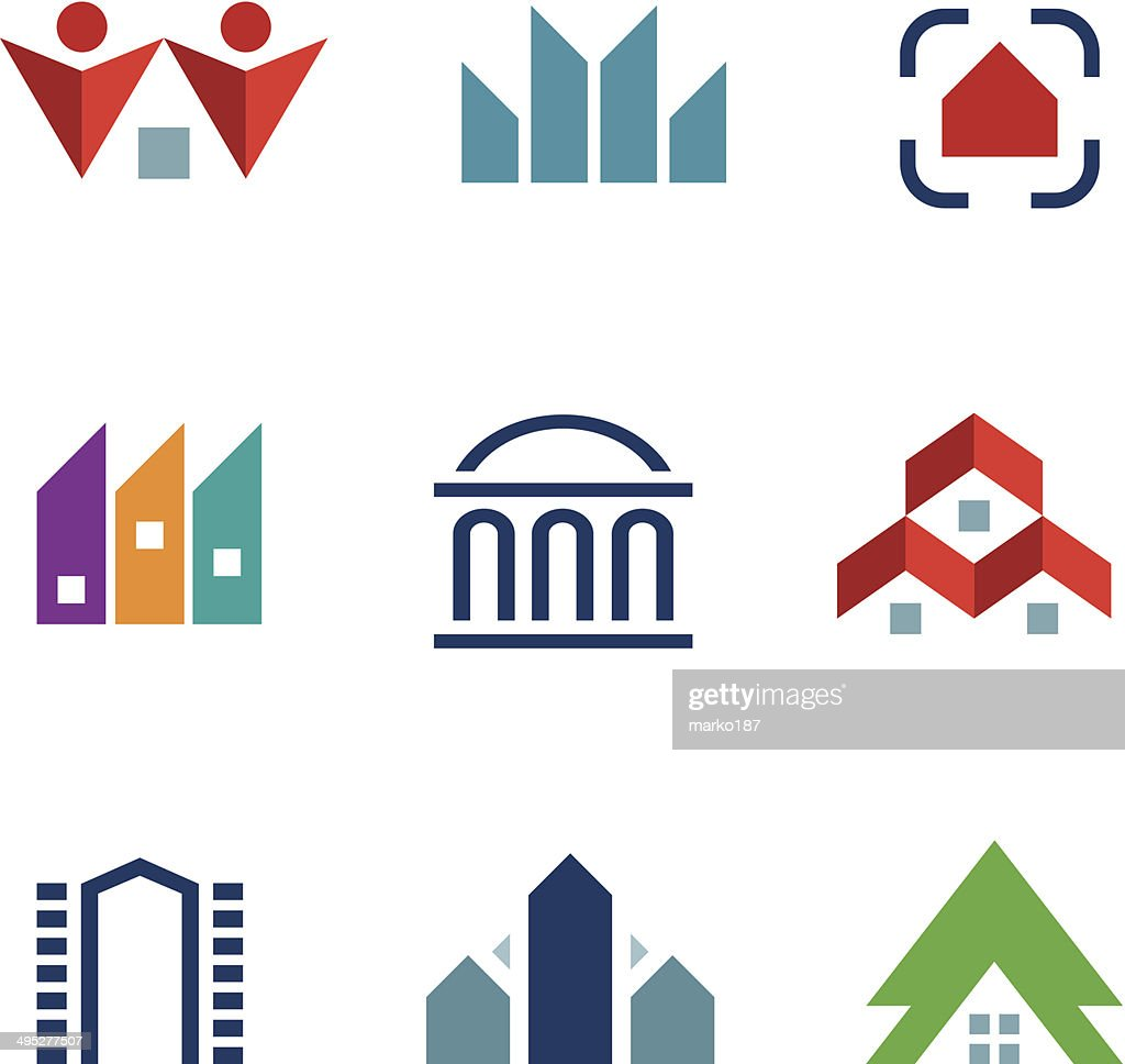 Real estate construction building in city community center logo icon