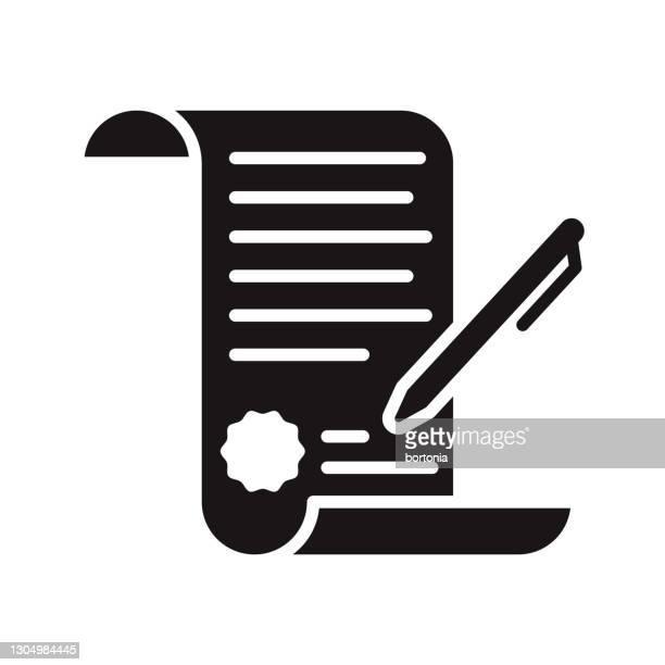 不動産契約グリフアイコン - 証書点のイラスト素材/クリップアート素材/マンガ素材/アイコン素材