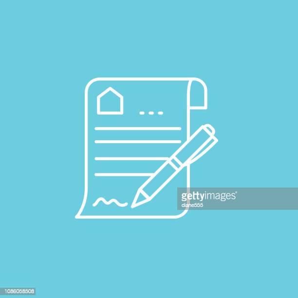 不動産契約の細い線の不動産のアイコン セット - 証書点のイラスト素材/クリップアート素材/マンガ素材/アイコン素材