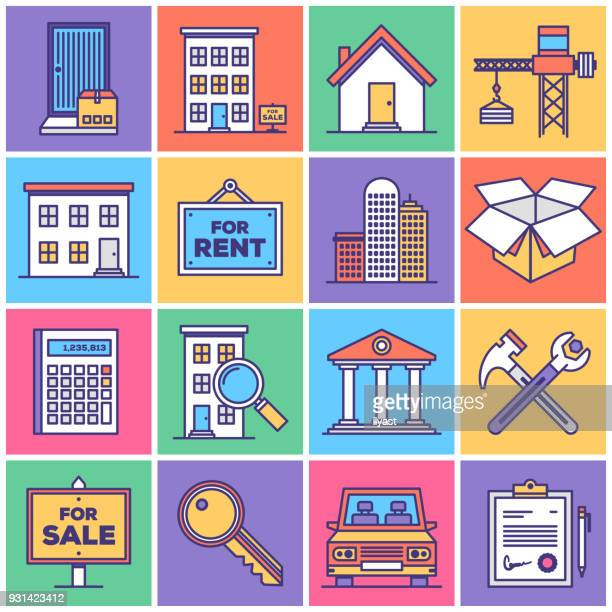 real estate development icon set - house exterior stock illustrations, clip art, cartoons, & icons