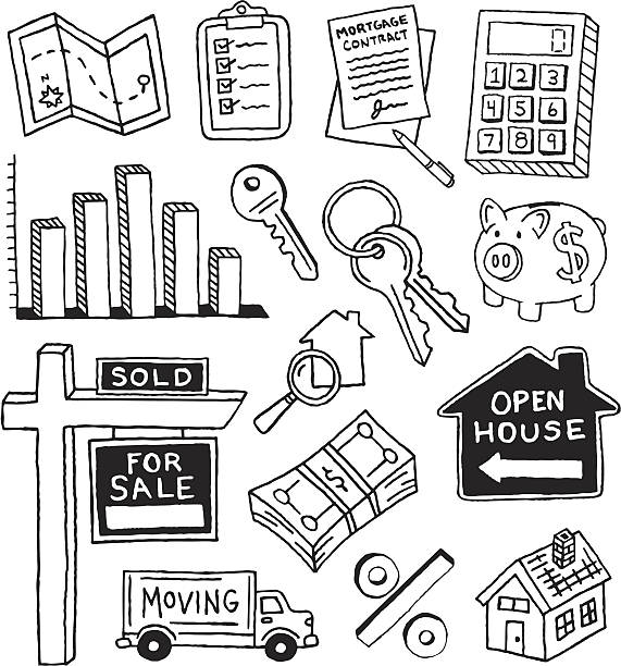 real estate doodles - pencil drawing stock illustrations