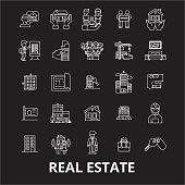 Real estate editable line icons vector set on black background. Real estate white outline illustrations, signs, symbols