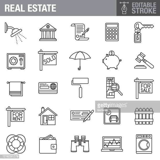 real estate editable stroke icon set - commercial real estate sign stock illustrations