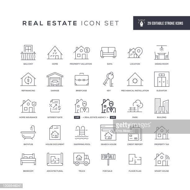 real estate editable stroke line icons - domestic room stock illustrations