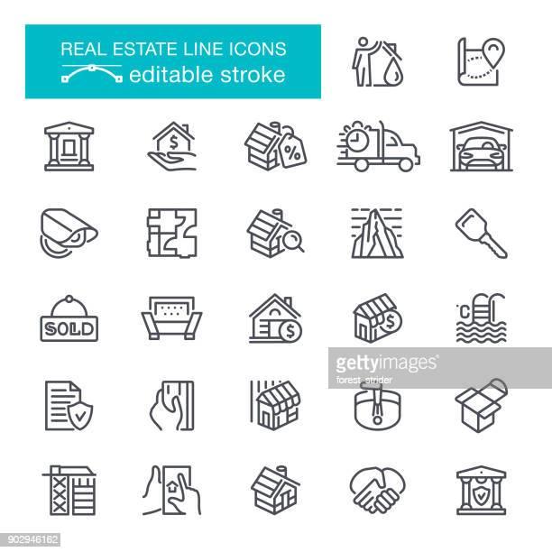 ilustraciones, imágenes clip art, dibujos animados e iconos de stock de iconos de línea inmobiliaria trazo editable - propietario de casa