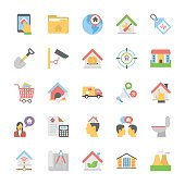 Real Estate Flat Colored Icons Set 5
