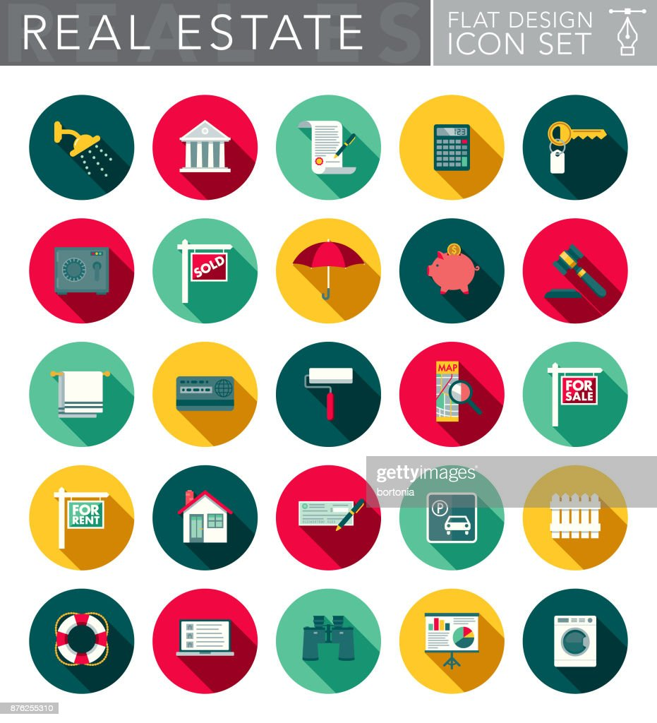 Real Estate Flat Design Icon Set with Side Shadow : stock illustration