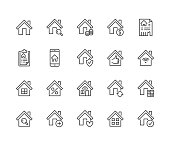 Real estate flat line icons set. House sale, home insurance, mortgage calculator, apartment search app, building renovation vector illustrations. Homepage signs. Pixel perfect 64x64. Editable Strokes