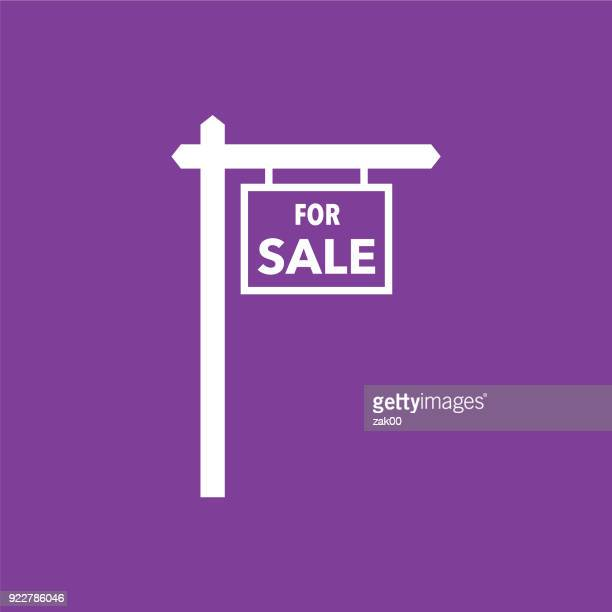 real estate for sale icon - estate agent sign stock illustrations